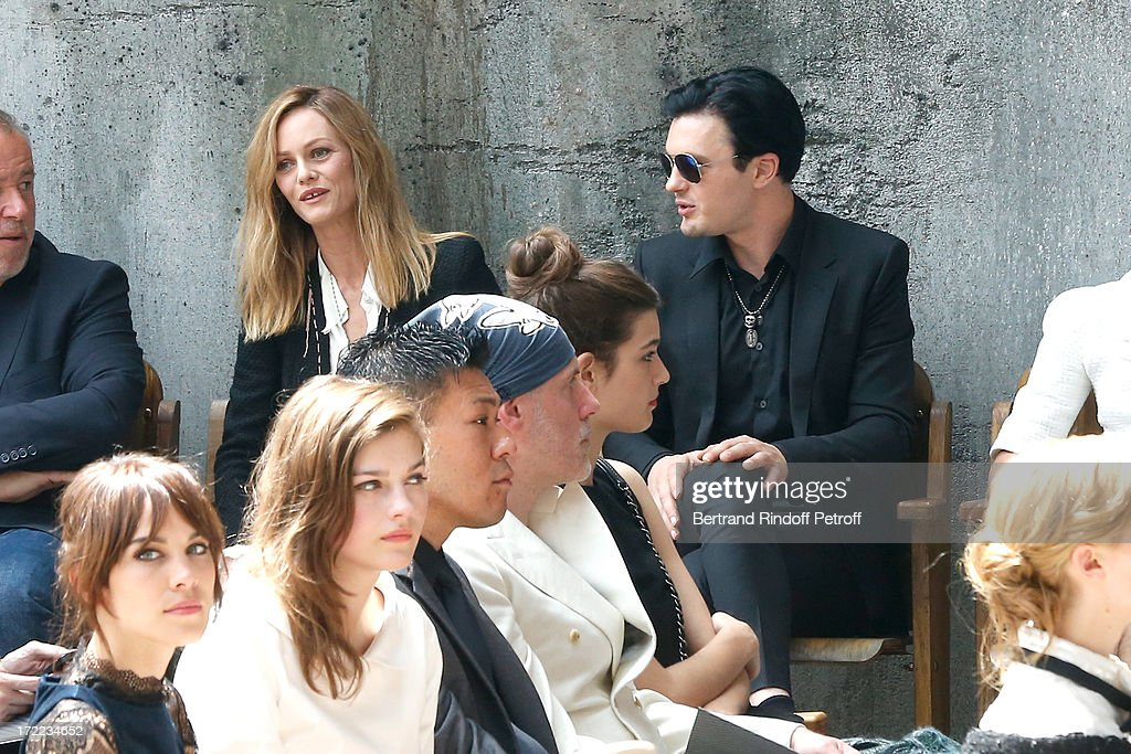 Alexa Chung, Amber Anderson, Vanessa Paradis arriving left in black and Michael Pitt attend the Chanel show as part of Paris Fashion Week Haute-Couture Fall/Winter 2013-2014 at Grand Palais on July 2, 2013 in Paris, France.