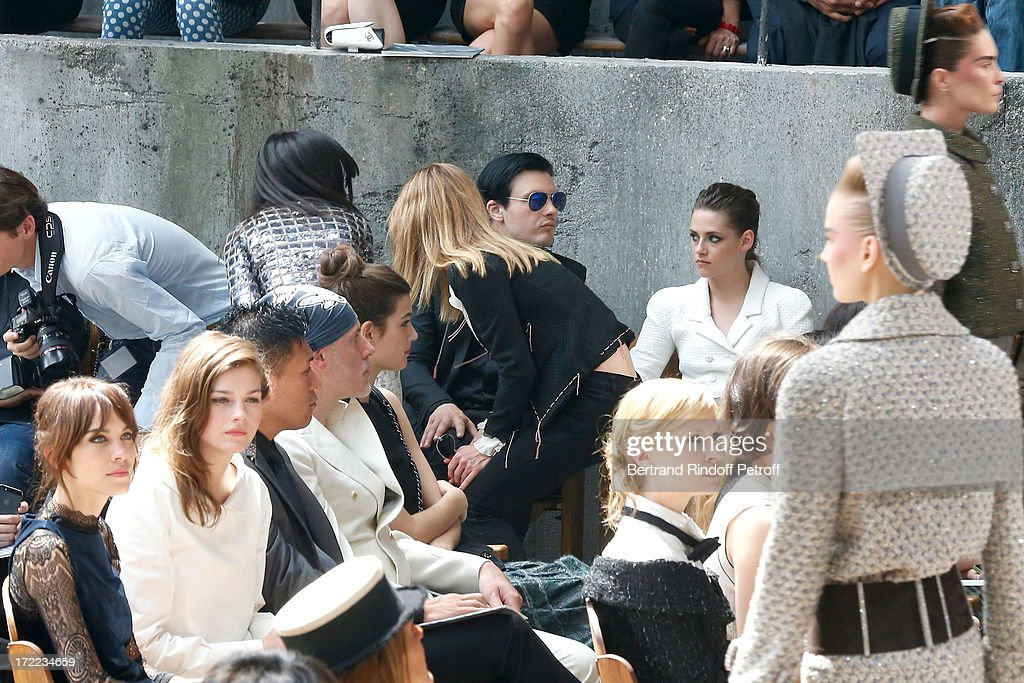 Alexa Chung, Amber Anderson, Vanessa Paradis arriving left in black, Michael Pitt , Kristen Stewart, and Clemence Poesy attend the Chanel show as part of Paris Fashion Week Haute-Couture Fall/Winter 2013-2014 at Grand Palais on July 2, 2013 in Paris, France.