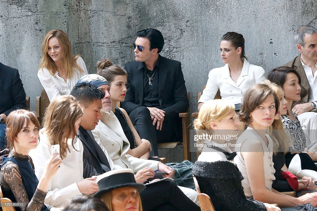 Alexa Chung, Amber Anderson, Vanessa Paradis, Michael Pitt , Kristen Stewart and Milla Jovovich attend the Chanel show as part of Paris Fashion Week Haute-Couture Fall/Winter 2013-2014 at Grand Palais on July 2, 2013 in Paris, France.