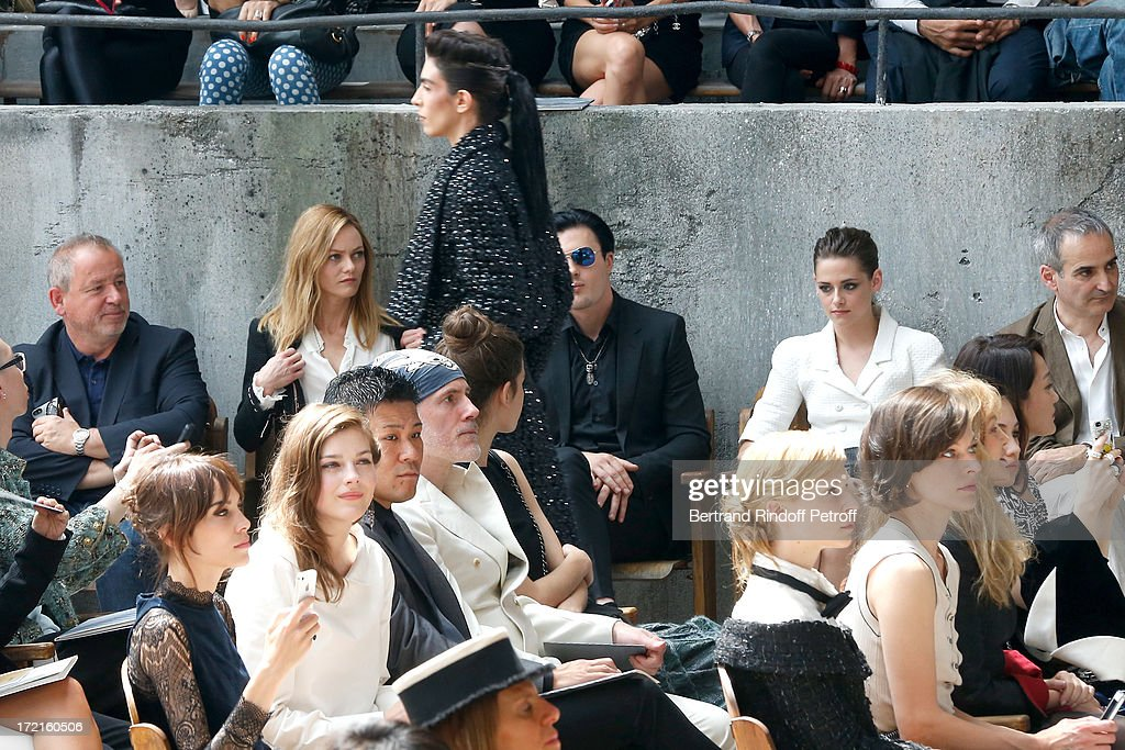 Alexa Chung, Amber Anderson, Vanessa Paradis, Michael Pitt , Kristen Stewart, Olivier Assayas, Milla Jovovich attend the Chanel show as part of Paris Fashion Week Haute-Couture Fall/Winter 2013-2014 at Grand Palais on July 2, 2013 in Paris, France.