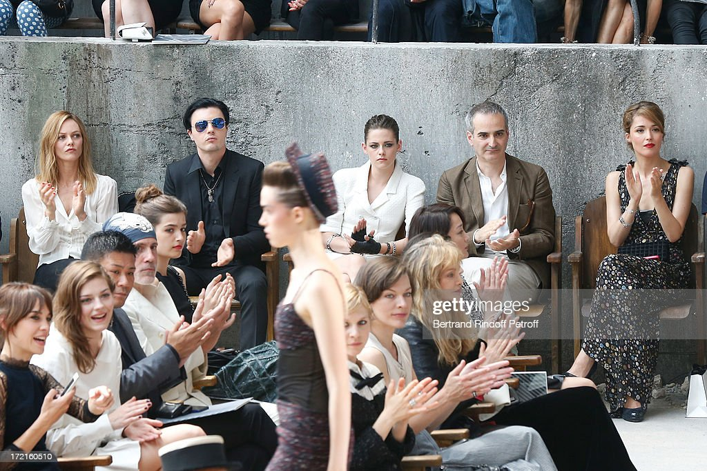 Alexa Chung, Amber Anderson, Vanessa Paradis, Michael Pitt , Kristen Stewart, Olivier Assayas, Rose Byrne, Milla Jovovich and Arielle Dombasle attend the Chanel show as part of Paris Fashion Week Haute-Couture Fall/Winter 2013-2014 at Grand Palais on July 2, 2013 in Paris, France.