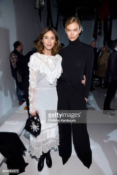 Alexa Chung and Karlie Kloss attends the Calvin Klein Collection Front Row during New York Fashion Week on February 10 2017 in New York City