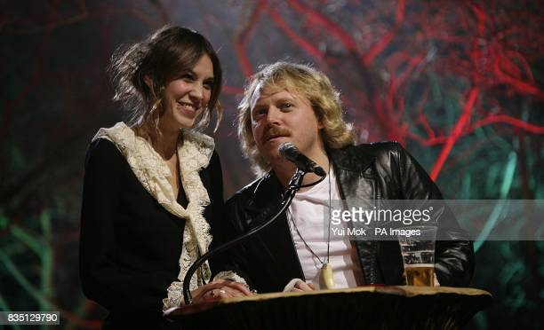 Alexa Chung and Leigh Francis on stage during the Shockwaves NME Awards 2009 at the 02 Academy Brixton London