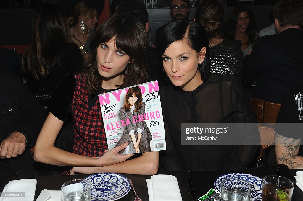 <a gi-track='captionPersonalityLinkClicked' href=/galleries/search?phrase=Alexa+Chung&family=editorial&specificpeople=3141821 ng-click='$event.stopPropagation()'>Alexa Chung</a> and Model <a gi-track='captionPersonalityLinkClicked' href=/galleries/search?phrase=Leigh+Lezark&family=editorial&specificpeople=618872 ng-click='$event.stopPropagation()'>Leigh Lezark</a> attend NYLON + Sanuk celebrate the October 'It Girl' issue with cover star <a gi-track='captionPersonalityLinkClicked' href=/galleries/search?phrase=Alexa+Chung&family=editorial&specificpeople=3141821 ng-click='$event.stopPropagation()'>Alexa Chung</a> at La Cenita on October 8, 2013 in New York City.
