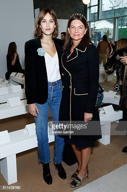 Alexa Chung and Natalie Massenet backstage ahead of the Emilia Wickstead show during London Fashion Week Autumn/Winter 2016/17 at 2 Pancras Square on...