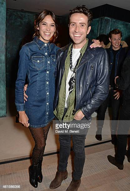 Alexa Chung and Nick Grimshaw attend an intimate party hosted by Alexa Chung to celebrate the global launch of the Alexa Chung for AG collection at...