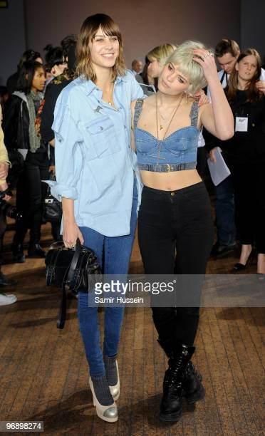 Alexa Chung and Pixie Geldof attend the Autumn/Winter 2010 House of Holland London Fashion Week show at My Beautiful Fashion on February 20 2010 in...