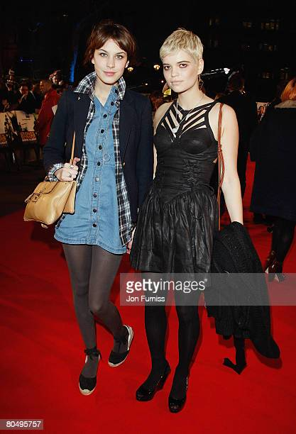 Alexa Chung and Pixie Geldof attend the Shine A Light film premiere held at the Odeon Leicester Square on April 2 2008 in London England
