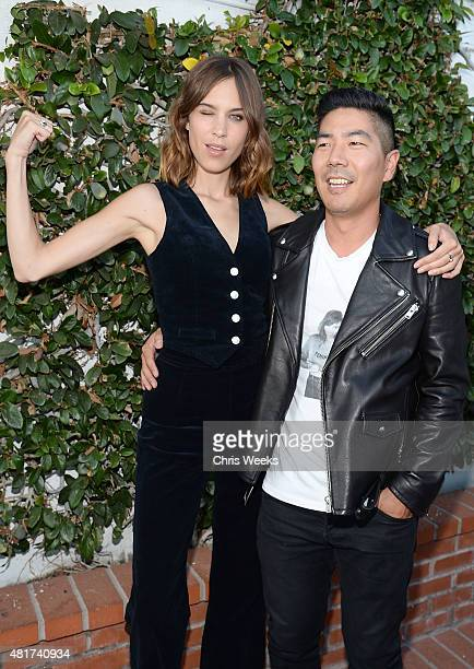 Alexa Chung and Samuel Ku president and creative director attends the launch of Alexa Chung X AG PA at Ron Herman on July 23 2015 in Los Angeles...