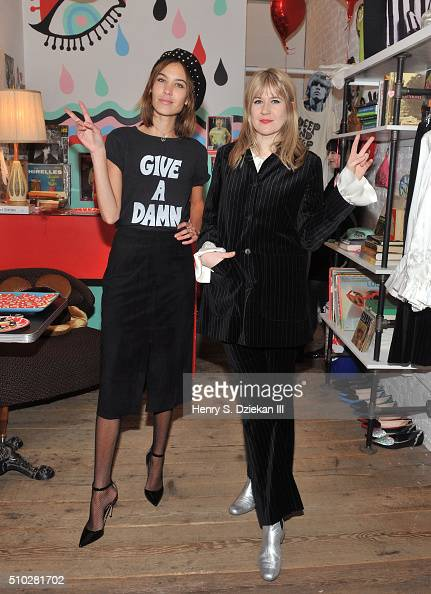 Alexa Chung and Tennessee Thomas attend The Deep End Club Collection Launch at The Deep End Club on February 14 2016 in New York City