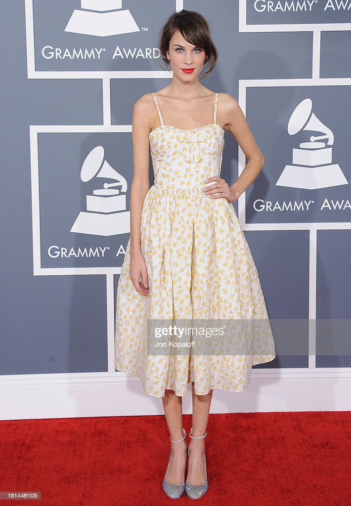 <a gi-track='captionPersonalityLinkClicked' href=/galleries/search?phrase=Alexa+Chung&family=editorial&specificpeople=3141821 ng-click='$event.stopPropagation()'>Alexa Chung</a> arrives at The 55th Annual GRAMMY Awards at Staples Center on February 10, 2013 in Los Angeles, California.