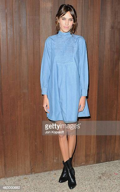Alexa Chung arrives at the Alexa Chung X AG Collection Los Angeles Launch Party on January 22 2015 in Beverly Hills California