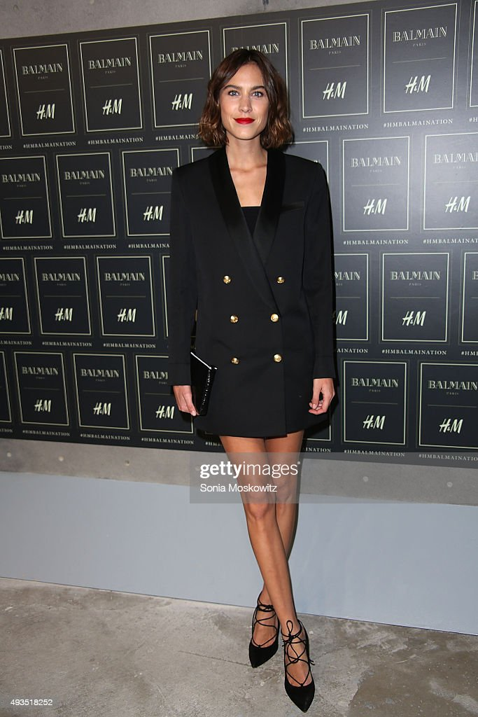 Alexa Chung arrives at the BALMAIN X H&M collection launch event at 23 Wall Street on October 20, 2015 in New York City.