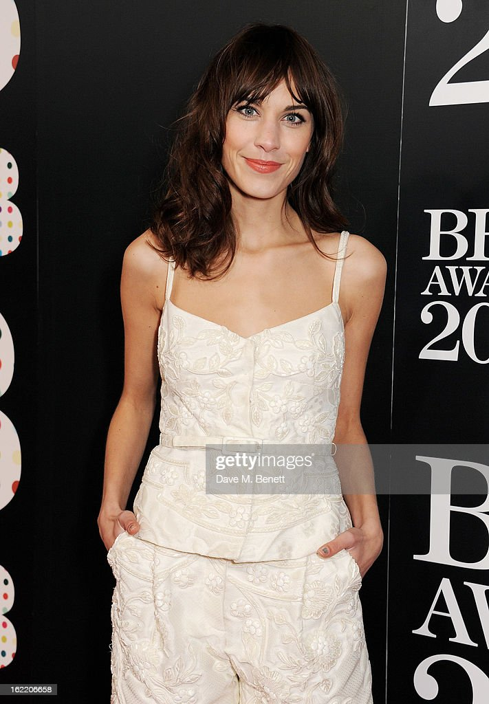 Alexa Chung arrives at the BRIT Awards 2013 at the O2 Arena on February 20, 2013 in London, England.