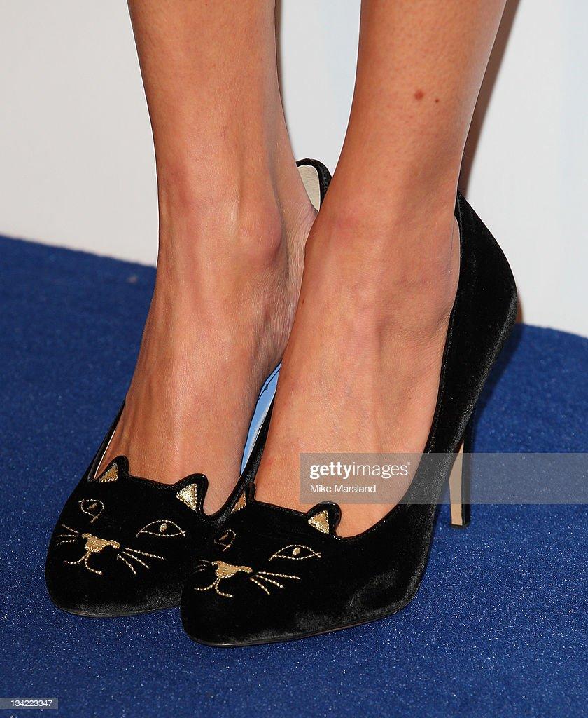 Alexa Chung (shoe detail) arrives at the British Fashion Awards at The Savoy Hotel on November 28, 2011 in London, England.