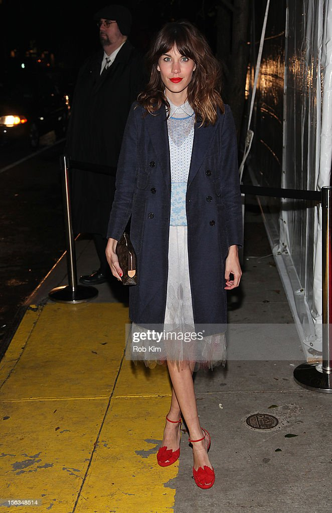 Alexa Chung arrives at The Ninth Annual CFDA/Vogue Fashion Fund Awards at 548 West 22nd Street on November 13, 2012 in New York City.