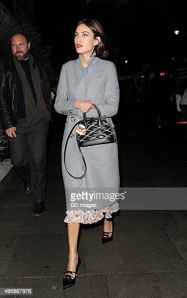 Alexa Chung arrives at The South Kensington Club for her private dinner to mark the recent launch of fashion app Villois and her forthcoming Elle...
