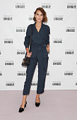 Alexa Chung arrives at the Topshop Unique show during London Fashion Week SS16 at The Queen Elizabeth II Conference Centre on September 20 2015 in...