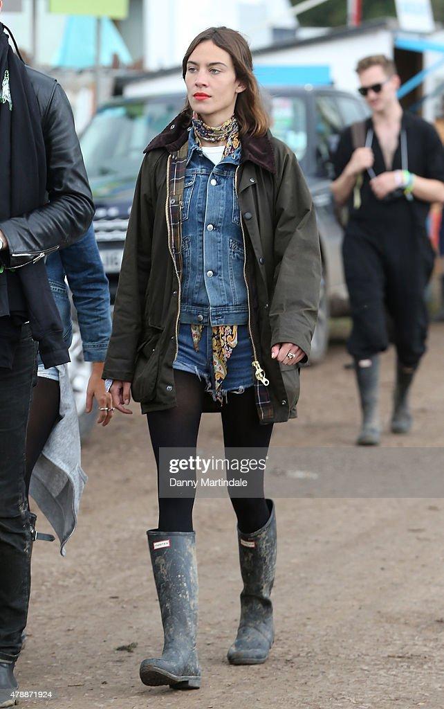 Alexa Chung at the Glastonbury Festival at Worthy Farm Pilton on June 28 2015 in Glastonbury England