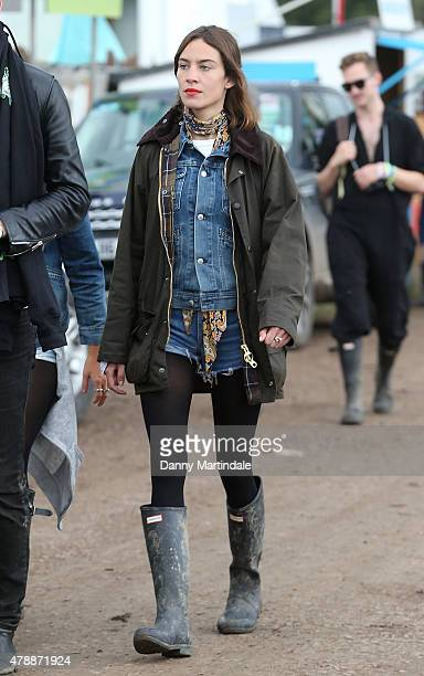 Alexa Chung at the Glastonbury Festival at Worthy Farm Pilton on June 28 2015 in Glastonbury England