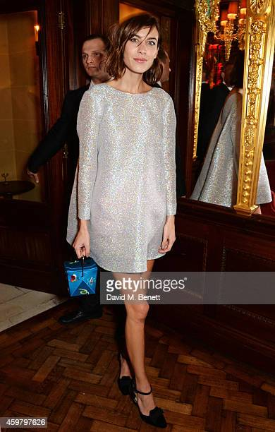 Alexa Chung attends a party in celebration of Edward Enninful in The Oscar Wilde Bar Hotel Cafe Royal on December 1 2014 in London England
