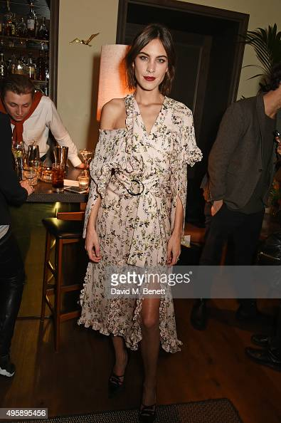 Alexa Chung attends a private dinner to celebrate the launch of her app Villoid and her upcoming Elle Magazine cover at South Kensington Club on...