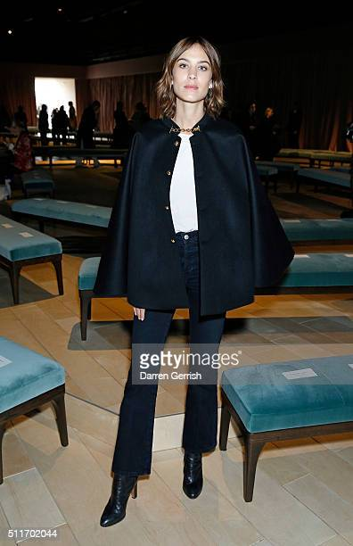 Alexa Chung attends Burberry Womenswear February February 2016 Show at Kensington Gardens on February 22 2016 in London England