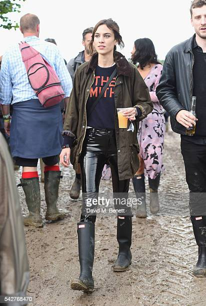 Alexa Chung attends day 1 of Glastonbury Festival on June 24 2016 in Glastonbury England
