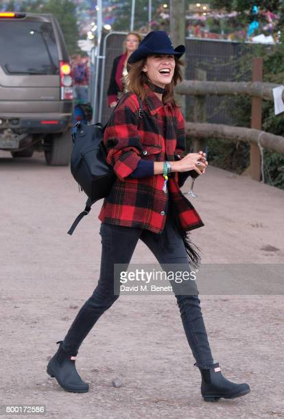 Alexa Chung attends day two of Glastonbury on June 23 2017 in Glastonbury England