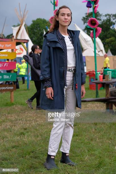 Alexa Chung attends day two of Glastonbury on June 24 2017 in Glastonbury England