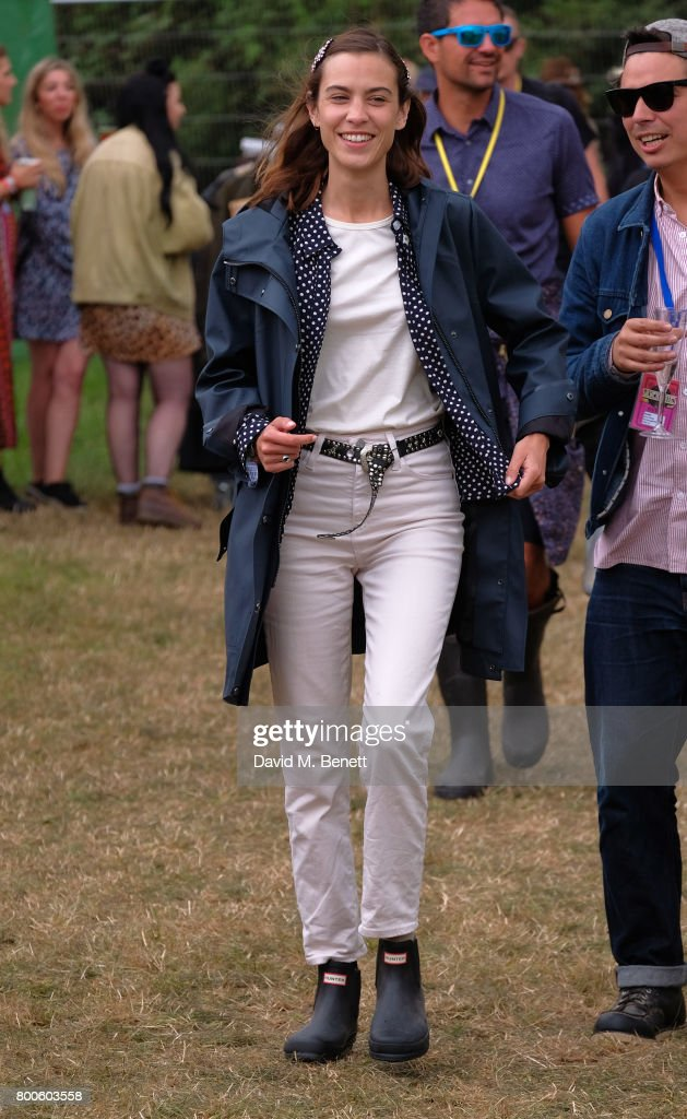 Alexa Chung attends day two of Glastonbury on June 24, 2017 in Glastonbury, England.