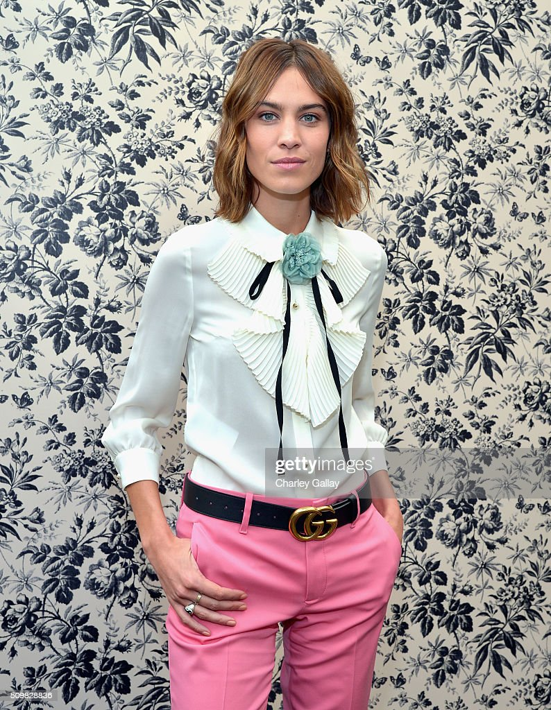 Alexa Chung attends Gucci Timepieces and Jewelry announces Florence Welch as 2016 Brand Ambassador on February 12 2016 in Los Angeles California