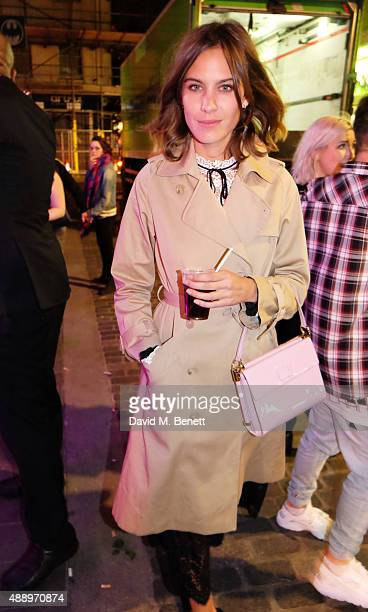 Alexa Chung attends the Bleach 5th birthday party introducing their new Berwick Street Salon during London Fashion Week SS16 on September 18 2015 in...