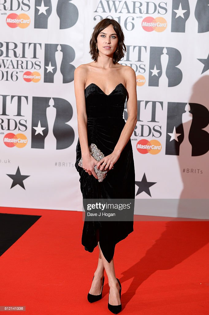 Alexa Chung attends the BRIT Awards 2016 at The O2 Arena on February 24, 2016 in London, England.