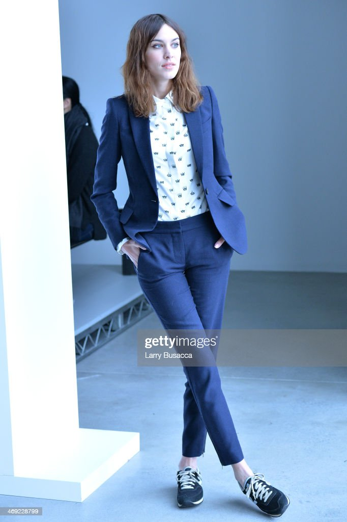 <a gi-track='captionPersonalityLinkClicked' href=/galleries/search?phrase=Alexa+Chung&family=editorial&specificpeople=3141821 ng-click='$event.stopPropagation()'>Alexa Chung</a> attends the Calvin Klein Collection fashion show during Mercedes-Benz Fashion Week Fall 2014 at Spring Studios on February 13, 2014 in New York City.