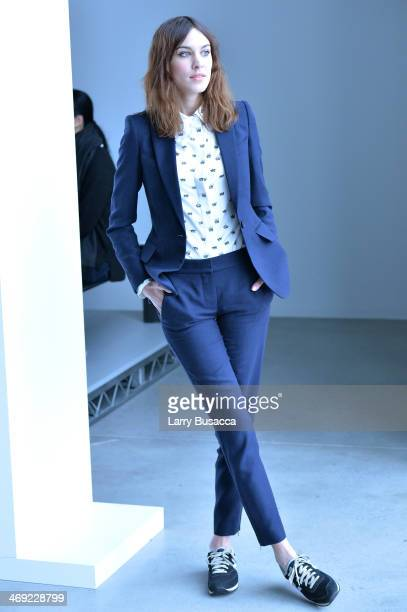 Alexa Chung attends the Calvin Klein Collection fashion show during MercedesBenz Fashion Week Fall 2014 at Spring Studios on February 13 2014 in New...