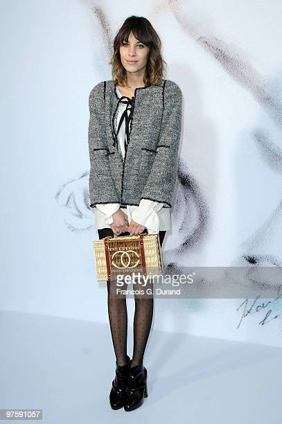 Alexa Chung attends the Chanel Ready to Wear show as part of the Paris Womenswear Fashion Week Fall/Winter 2011 at Grand Palais on March 9 2010 in...