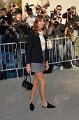 Alexa Chung attends the Chanel show as part of the Paris Fashion Week Womenswear Spring/Summer 2015 at the Grand Palais on September 30 2014 in Paris...