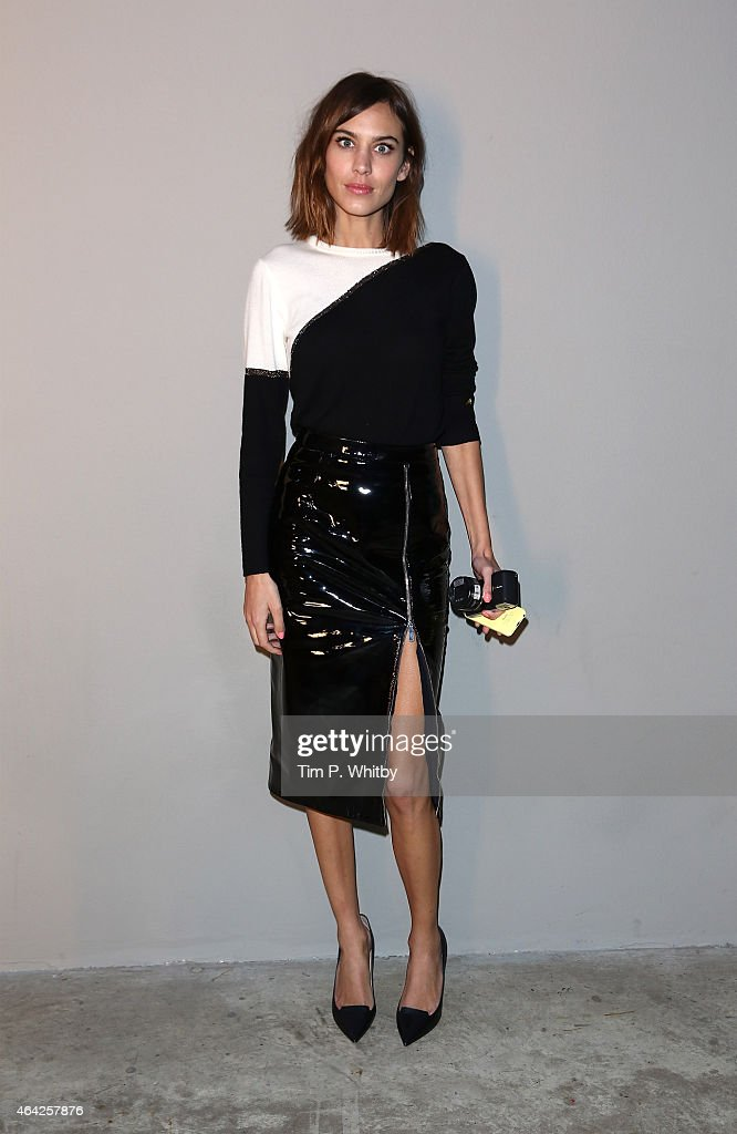 Alexa Chung attends the Christopher Kane show during London Fashion Week Fall/Winter 2015/16 at Tate Modern on February 23 2015 in London England
