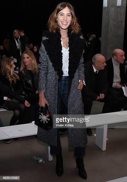 Alexa Chung attends the Edun show during MercedesBenz Fashion Week Fall 2015 at Skylight Modern on February 15 2015 in New York City