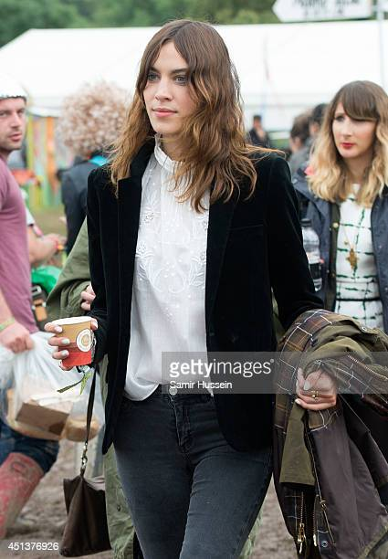 Alexa Chung attends the Glastonbury Festival at Worthy Farm on June 28 2014 in Glastonbury England