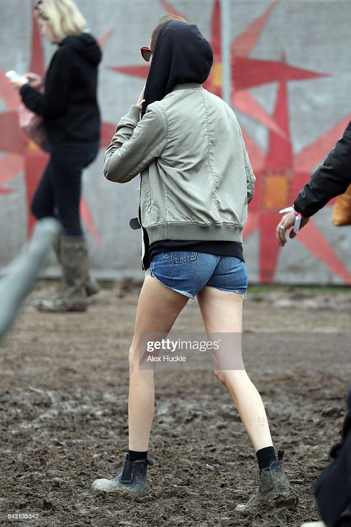Alexa Chung attends the Glastonbury Festival at Worthy Farm, Pilton on June 26, 2016 in Glastonbury, England.