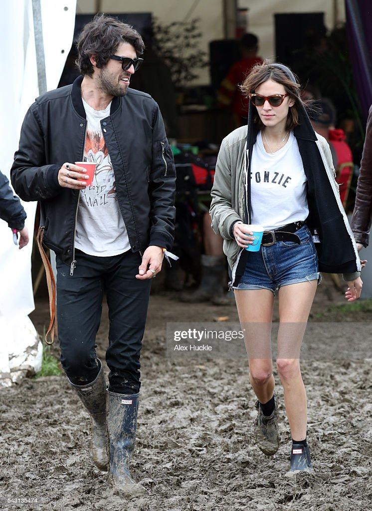 <a gi-track='captionPersonalityLinkClicked' href=/galleries/search?phrase=Alexa+Chung&family=editorial&specificpeople=3141821 ng-click='$event.stopPropagation()'>Alexa Chung</a> (R) attends the Glastonbury Festival at Worthy Farm, Pilton on June 26, 2016 in Glastonbury, England.
