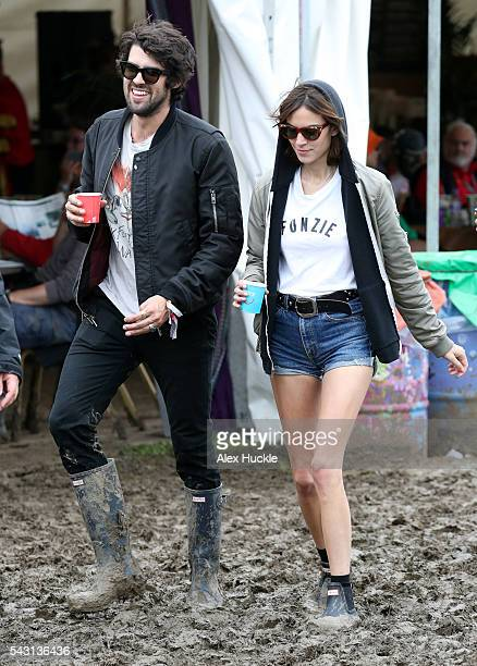 Alexa Chung attends the Glastonbury Festival at Worthy Farm Pilton on June 26 2016 in Glastonbury England
