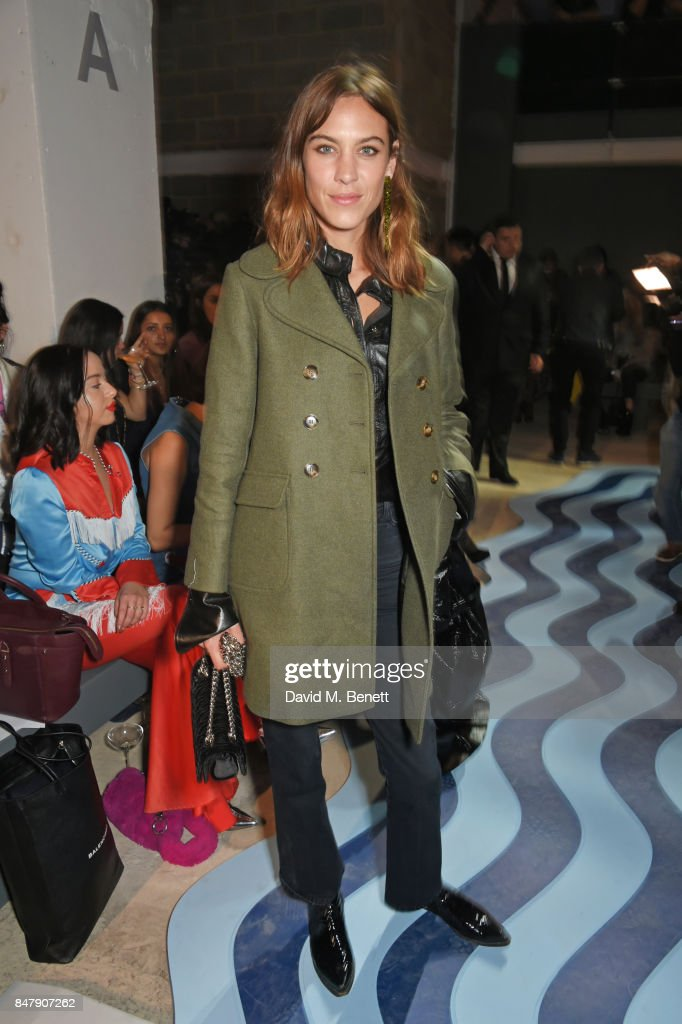 Alexa Chung attends the House Of Holland SS18 catwalk show during London Fashion Week September 2017 at TopShop Show Space on September 16, 2017 in London, England.