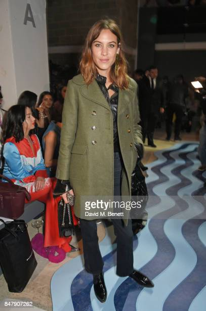 Alexa Chung attends the Henry Holland SS18 catwalk show during London Fashion Week September 2017 at TopShop Show Space on September 16 2017 in...