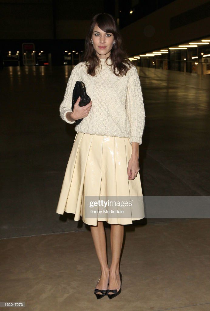 Alexa Chung attends the J.W. Anderson show during London Fashion Week Fall/Winter 2013/14 at TopShop Show Space on February 18, 2013 in London, England.
