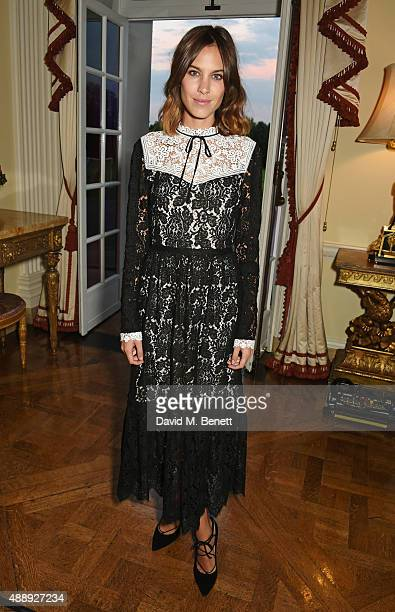 Alexa Chung attends the London Fashion Week party hosted by Ambassador Matthew Barzun and Mrs Brooke Brown Barzun with Alexandra Shulman in...