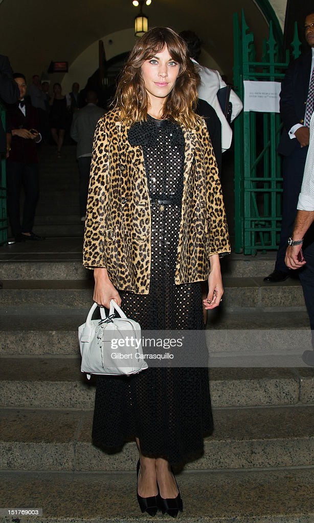 Alexa Chung attends the Marc Jacobs Spring 2013 fashion show during Mercedes-Benz Fashion Week at N.Y. State Armory on September 10, 2012 in New York City.