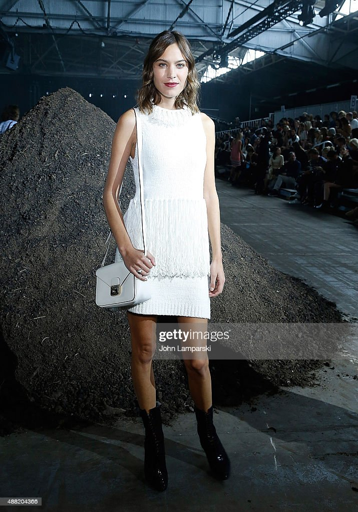 Alexa Chung attends the Phillip Lim collection during Spring 2016 New York Fashion Week at Pier 94 on September 14 2015 in New York City